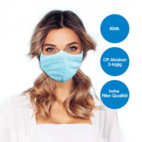 Face mask 3-layer blue 50 pieces BOX
