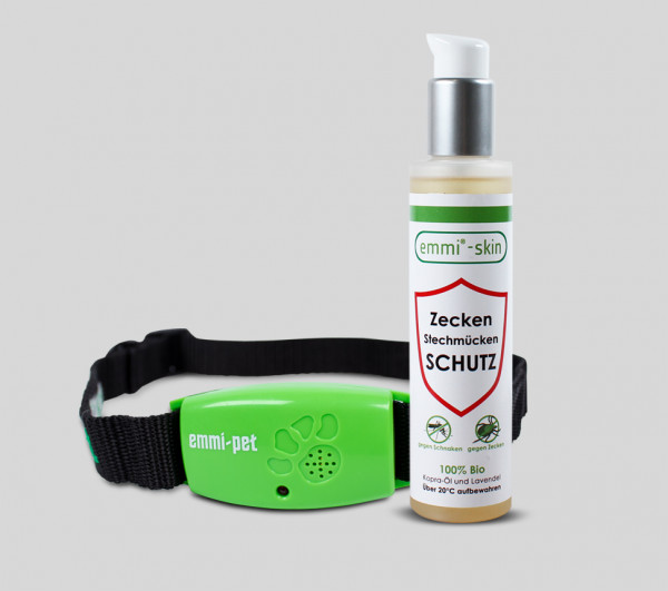 emmi®-pet Ultrasonic tick repellent collar & emmi®-skin ticks and mosquitoes protection