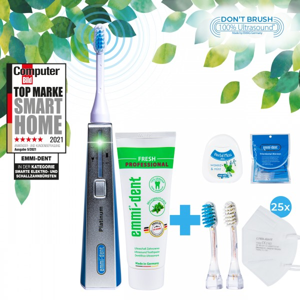 Ultrasonic toothbrush Platinum Blue+FFP2 Masks