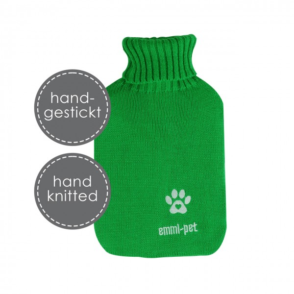 """Hot water bottle with knitted cover """"hand-embroidered"""""""